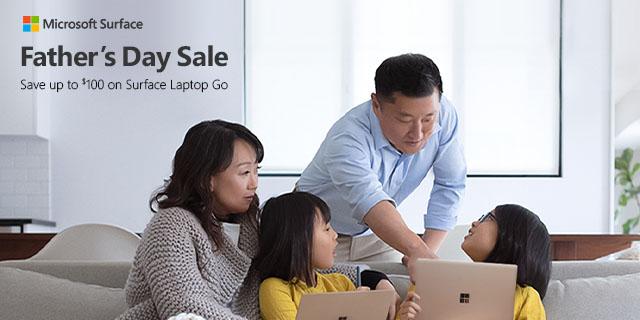 Microsoft Surface LaptopGo Save100 Fathersday 2021banner3