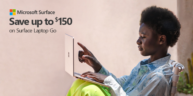 Microsoft Laptop Go Save150 07.20.2021banner