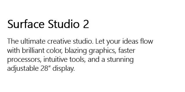 Surface Studio2 Landing Page Header Studio Tile Right