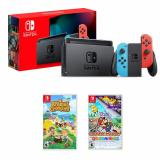 Nintendo Switch 32GB Console w/ Neon Blue & Neon Red Joy Con+Nintendo Switch Animal Crossing: New Horizons+Paper Mario: The Origami King Nintendo Switch
