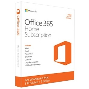 Microsoft Office 365 Home Subscription + Exclusive Upgrades and New Features - 5 PC/Mac, 5 Tablet, 5 User, 5 TB OneDrive Cloud Storage - 1 Year - Medialess