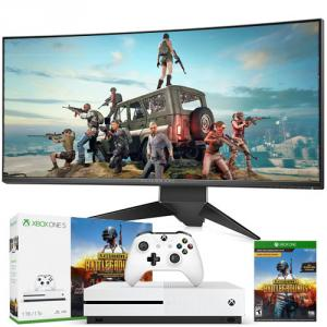 """Dell Alienware 34"""" Curved Gaming Monitor Silver with Xbox One S 1TB PUBG Bundle"""
