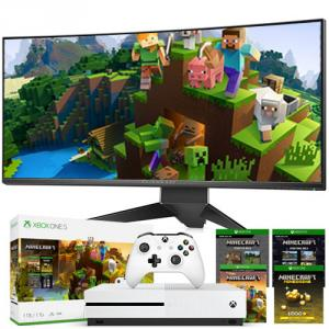 """Dell Alienware 34"""" Curved Gaming Monitor with Xbox One S 1TB Minecraft Creators Bundle"""