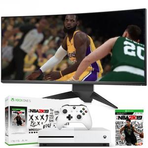 """Dell Alienware 34"""" Curved Gaming Monitor Silver with Xbox One S 1TB NBA 2K19 Bundle"""
