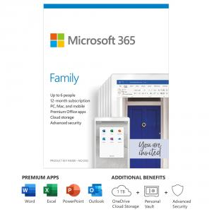 Microsoft 365 Family 1 Year Subscription For Up To 6 Users