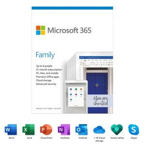 Microsoft 365 Family | 12-Month Subscription, up to 6 people | Premium Office Apps | 1TB OneDrive cloud storage | PC/Mac Keycard