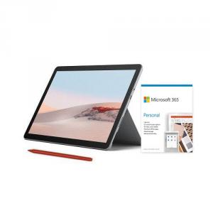 """Microsoft Surface Go 2 10.5"""" Intel Pentium Gold 8GB RAM 128GB SSD Platinum + Surface Pen Poppy Red + Microsoft 365 Personal 1 Year Subscription For 1 User"""