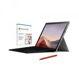 """Microsoft Surface Pro 7 12.3"""" Intel Core i5 8GB RAM 128GB SSD Platinum + Surface Pro Signature Type Cover Black+Surface Pen Poppy Red+Microsoft 365 Personal 1 Year Subscription For 1 User"""