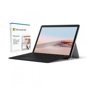 """Microsoft Surface Go 2 10.5"""" Intel Core m3 8GB RAM 128GB SSD LTE Platinum + Surface Go Type Cover Black + Microsoft 365 Personal 1 Year Subscription For 1 User"""