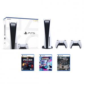PlayStation 5 Console + DualSense Wireless Controller + Marvel's Spider-Man: Miles Morales Ultimate Launch Edition + Demon's Souls + Destruction AllStars