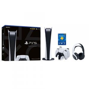 PlayStation 5 Digital Edition + Two DualSense Wireless Controllers + PULSE 3D Gaming Headset + DualSense Charging Station + PlayStation Plus 12 Month Membership (Email Delivery)