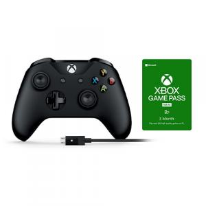 Xbox Wireless Controller and Cable for Windows + Microsoft Xbox Game Pass For PC 3 Month Membership (Email Delivery)
