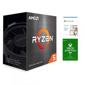 AMD Ryzen 5 5600X 6-core 12-thread Desktop Processor + Microsoft 365 Personal 1 Year Subscription For 1 User + Microsoft Xbox Game Pass For PC 3 Month Membership (Email Delivery)