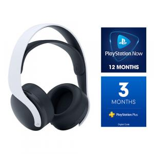 PlayStation 5 PULSE 3D Wireless Gaming Headset + PlayStation Plus 3 Month Membership (Email Delivery) + PlayStation NOW: 12-Month Subscription (Email Delivery)