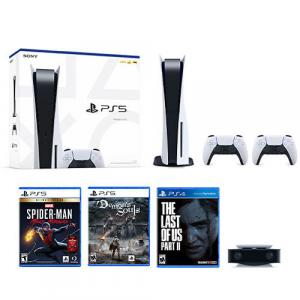 PlayStation 5 Console w/ DualSense Controller + Extra DualSense Wireless Controller + PS5 HD Camera + Marvels Spider-Man: Miles Morales Ultimate Edition + Demon's Souls Std Edition + The Last of US Part 2