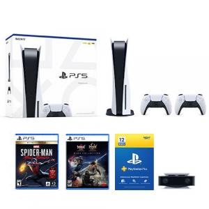 PlayStation 5 Console w/ DualSense Controller + Extra DualSense Controller +PlayStation 5 HD Camera + The Nioh Collection PS5 +Marvels Spider-Man: Miles Morales Ultimate Edition + PlayStation Plus 12 Month Membership (Card)