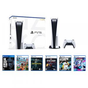 PlayStation 5 Console w/ DualSense Controller + Marvel's Spider-Man: Miles Morales Launch Edition + Sackboy: A Big Adventure + Returnal PS5 + MLB The Show 21 PS5 + Destruction AllStars PS5 + The Last of Us Part II Standard Edition