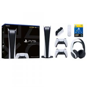 PlayStation 5 Digital Edition w/ DualSense Controller + Extra PS5 DualSense Controller + PS5 Media Remote + PS5 PULSE 3D Wireless Gaming Headset + PS5 DualSense Charging Station + PlayStation Plus 12 Month Membership & MLB Bonus (Email Delivery)