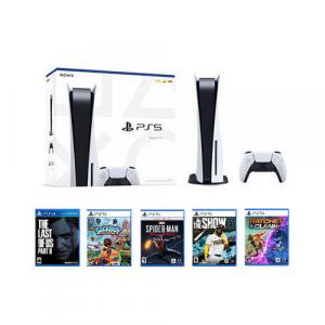 PlayStation 5 Console + Ratchet & Clank: Rift Apart Launch Edition PS5 + The Last of Us Part II Standard Edition PS4 + Marvel's Spider-Man: Miles Morales Launch Edition + Sackboy: A Big Adventure + MLB The Show 21 PS5