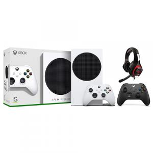 Xbox Series S 512GB SSD Console w/ Xbox Wireless Controller White + Xbox Wireless Controller Carbon Black + Nyko Core Wired Gaming Headset
