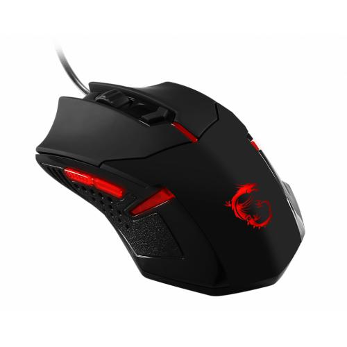 MSI Interceptor Gaming Mouse Black & Red - 1600 dpi movement resolution - USB Wired Connectivity - 1 x wheel Scrolling Capability - Optical Movement Detection - OMRON switches