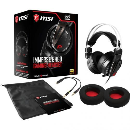 MSI Immerse GH60 Gaming Headset   3.5 Mm Headphone Jack   40 KHz Maximum Frequency Responce   High Resolution Audio   Ergonomic Suspension Design For Comfort   Premium Carrying Pouch Included