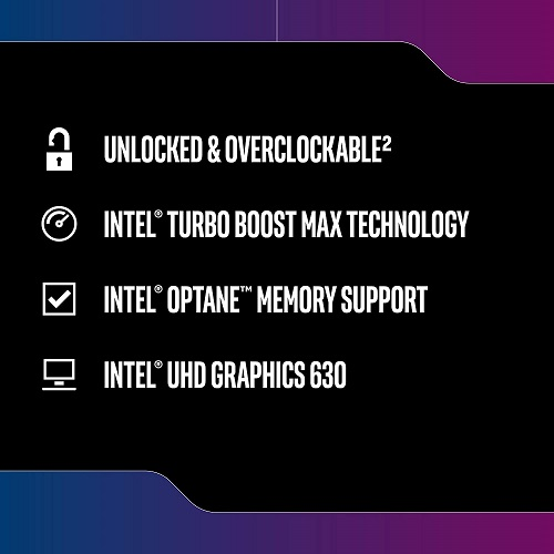 Intel Core I5 9600K Desktop Processor   6 Cores & 6 Threads   Up To 4.6 GHz CPU Speed   Intel UHD Graphics 630   Intel Optane Memory Supported   Compatible W/ Intel 300 Series Chipset