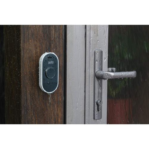 Arlo Audio Doorbell Black & White     Water Resistant   Remote Access W/ Mobile Device   Visitor Messaging   Only Compatible W/ IOS 10+ Or Android 6+   Arlo Base Station Required