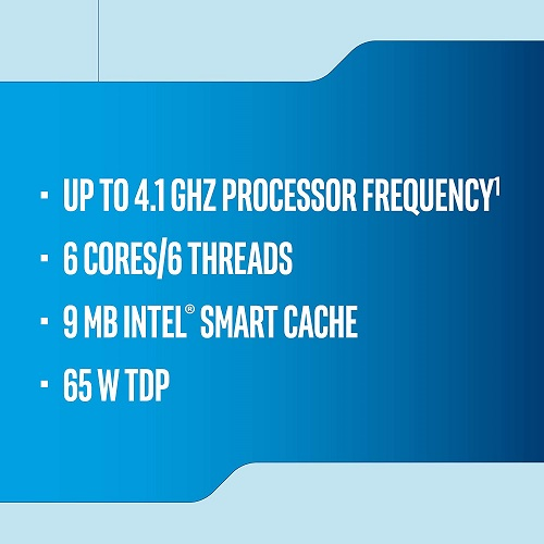 Intel Core I5 9400 Desktop Processor   6 Cores & 6 Threads   Up To 4.1 GHz CPU Speed   Compatible W/ Motherboards W/ Intel 300 Series Chipsets   Intel UHD Graphics 630   Intel Optane Memory Ready