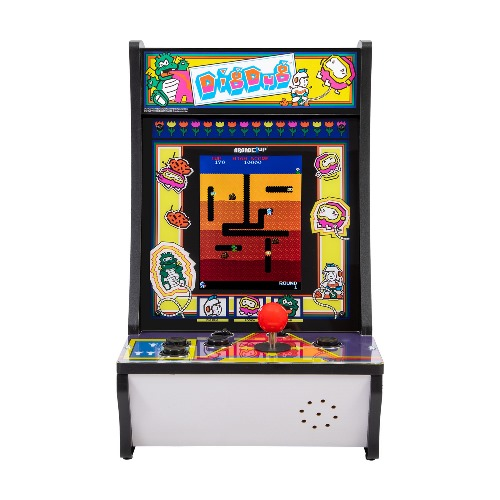 Arcade1Up Dig Dug & Dig Dug II Countercade Arcade System - 2 Games in 1 (Dig Dug & Dig Dug II) - Real feel arcade controls - Coinless operation - Player can adjust volume - On screen game selection menu - Plugs into AC outlet