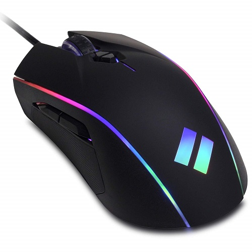 CyberpowerPC Syber SM202 Wired RGB Gaming Mouse - Up to 12,400 dpi Optical Sensor - 7 Buttons total w/ 5 Programmable - Ergonomic Design - DPI Switching - 5 Million+ Clicks