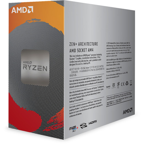 AMD Ryzen 3 3200G Unlocked Desktop Processor With Radeon Graphics   4 Cores & 4 Threads   3.6 GHz  4.0 GHz CPU Speed   AMD Radeon Vega 8 Graphics   12nm Process Technology   4MB L3 Cache   Socket AM4 Processor