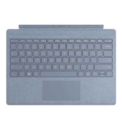 Microsoft Surface Pro Signature Type Cover Ice Blue - Full keyboard experience - Ultra-slim and portable - Large trackpad for precise control - Optimum key spacing for fast typing - Enhanced Magnetic stability