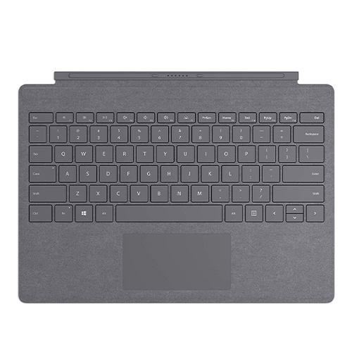Microsoft Surface Pro Signature Type Cover Platinum - Full keyboard experience - Ultra-slim and portable - Large trackpad for precise control - Optimum key spacing for fast typing - Enhanced Magnetic stability