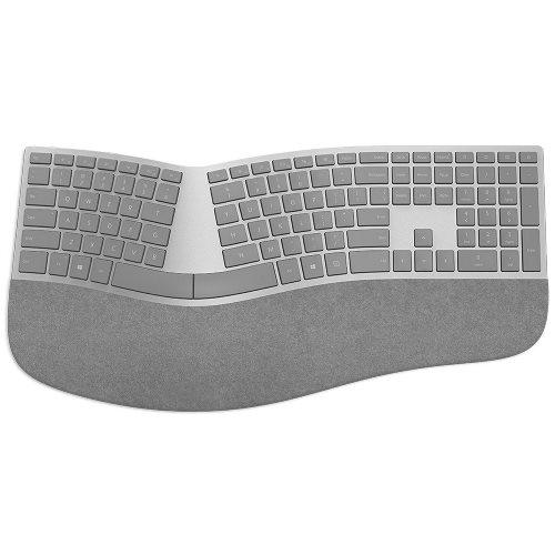 Microsoft Surface Ergonomic Keyboard + Surface Arc Touch Mouse Platinum   Wireless Bluetooth Connectivity   QWERTY Key Layout   Ultra Slim & Lightweight   Made W/ Alcantara Material   Compatible W/ Notebook & Smartphones
