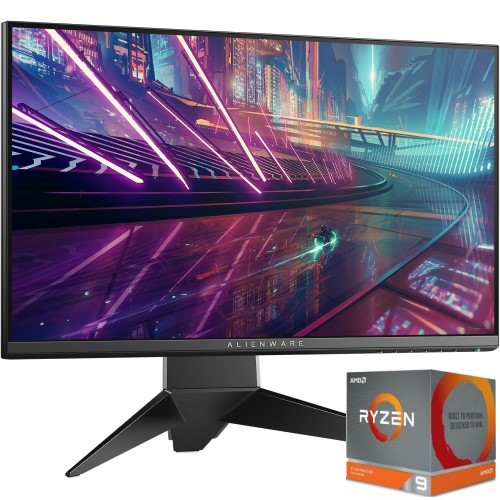 """Dell Alienware AW2518HF 24.5"""" Gaming Monitor + AMD Ryzen 9-3900X Desktop Processor - AMD Ryzen 9-3900X Desktop Processor Included - 12 cores & 24 threads - 240Hz Refresh Rate - AMD FreeSync Technology - 1920 x 1080 FHD Display"""