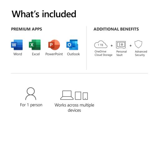 Microsoft 365 Personal 1 Year Subscription For 1 User   For Windows, MacOS, IOS, And Android Devices   PC/Mac Keycard   1TB OneDrive Cloud Storage   Premium Office Apps   12 Month Subscription