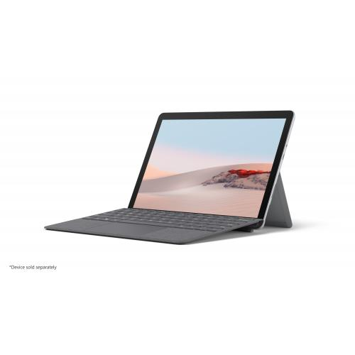 Microsoft Surface Go Signature Type Cover Platinum   Pair W/ Surface Go   A Full Keyboard Experience   Close To Protect Screen & Conserve Battery   Fold Back For Tablet Mode   Made W/ Alcantara Material