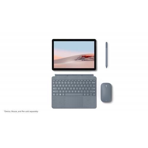 Microsoft Surface Go Signature Type Cover Ice Blue   Pair W/ Surface Go   A Full Keyboard Experience   Close To Protect Screen & Conserve Battery   Fold Back For Tablet Mode   Made W/ Alcantara Material