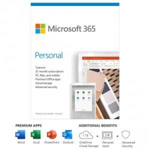 Microsoft 365 Personal 1 Year For 1 User+Surface Pen Charcoal   PC/Mac Keycard   Bluetooth 4.0 Connectivity   4,096 Pressure Points For Pen   Writes Like Pen On Paper   For Windows, MacOS, IOS, & Android Devices