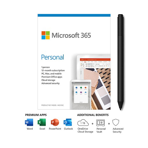 Microsoft 365 Personal 1 Year For 1 User+Surface Pen Charcoal - PC/Mac Keycard - Bluetooth 4.0 Connectivity - 4,096 Pressure Points for Pen - Writes like pen on paper - For Windows, macOS, iOS, & Android devices