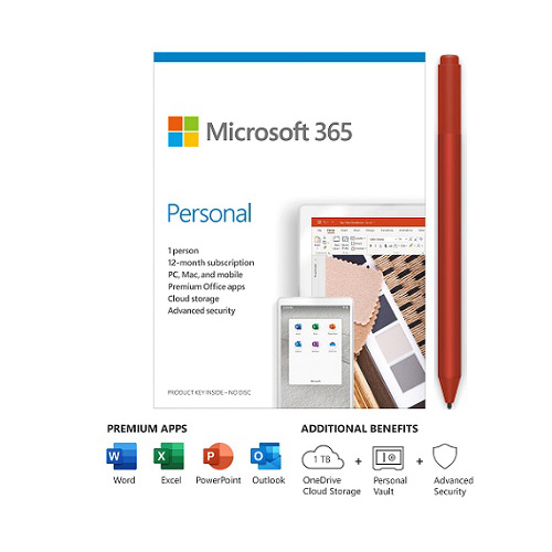 Microsoft 365 Personal 1 Year For 1 User+Surface Pen Poppy Red - PC/Mac Keycard - Bluetooth 4.0 Connectivity - 4,096 Pressure Points for Pen - Writes like pen on paper - For Windows, macOS, iOS, and Android devices