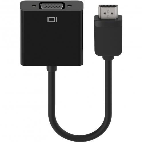 Open Box: Belkin HDMI to VGA + 3.5mm Audio Adapter, HDMI-M/VGA-F - First End: 1 x HDMI (Type A) Male Digital Audio/Video - Second End: 1 x HD-15 Female VGA, Second End: 1 x Mini-phone Audio