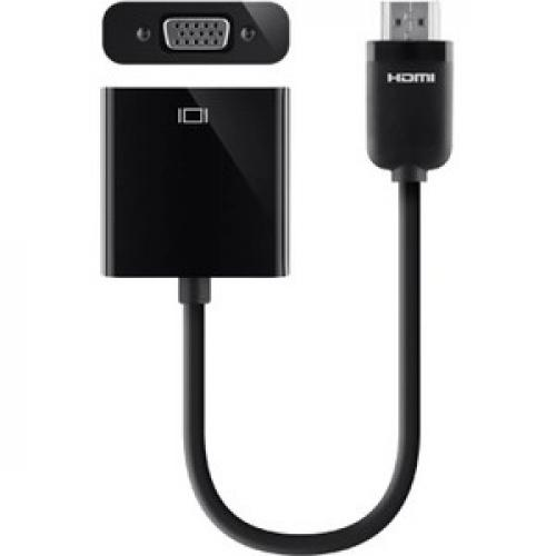 Open Box: Belkin HDMI To VGA + 3.5mm Audio Adapter, HDMI M/VGA F   First End: 1 X HDMI (Type A) Male Digital Audio/Video   Second End: 1 X HD 15 Female VGA, Second End: 1 X Mini Phone Audio