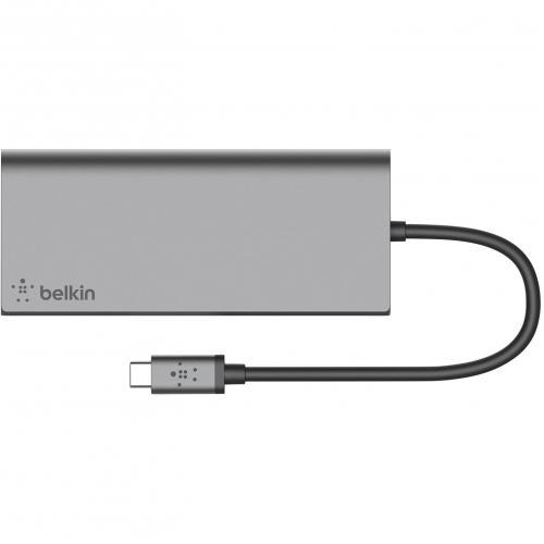 Open Box: Belkin USB C Multimedia Hub   For Notebook   60 W   USB Type C   3 X USB Ports   2 X USB 3.0   Network (RJ 45)   HDMI   Wired