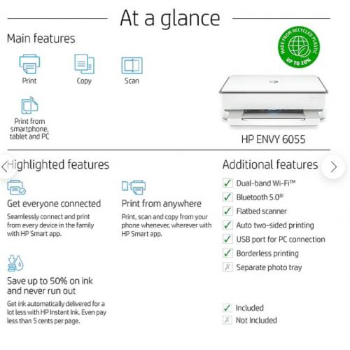 HP ENVY 6055 Wireless Color Inkjet All In One Printer, Instant Ink
