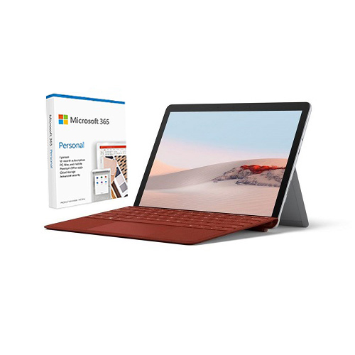 """Microsoft Surface Go 2 10.5"""" Intel Pentium Gold 8GB RAM 128GB SSD Platinum + Surface Go Signature Type Cover Poppy Red + Microsoft 365 Personal 1 Year Subscription For 1 User"""