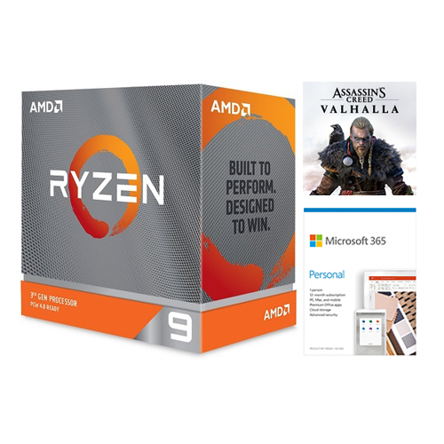 AMD Ryzen 9 3900XT Unlocked Desktop Processor without cooler + Microsoft 365 Personal 1 Year Subscription For 1 User + Assassin's Creed Valhalla Ryzen Token Code
