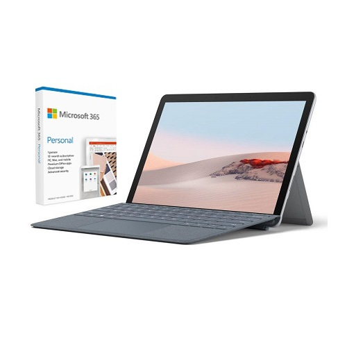 """Microsoft Surface Go 2 10.5"""" Intel Core m3 8GB RAM 128GB SSD LTE Platinum + Surface Go Signature Type Cover Ice Blue + Microsoft 365 Personal 1 Year Subscription For 1 User"""