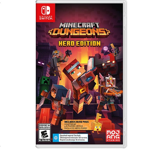 Minecraft Dungeons Hero Edition Nintendo Switch - For Nintendo Switch - Action/Adventure Game - ESRB Rated E (Everyone 10+) - Up to 4 players supported - Includes Hero cape, 2 player skins & chicken pet